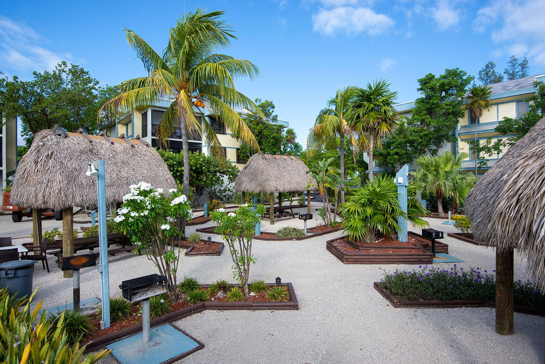 Marathon Key Beach Club grill and tiki huts