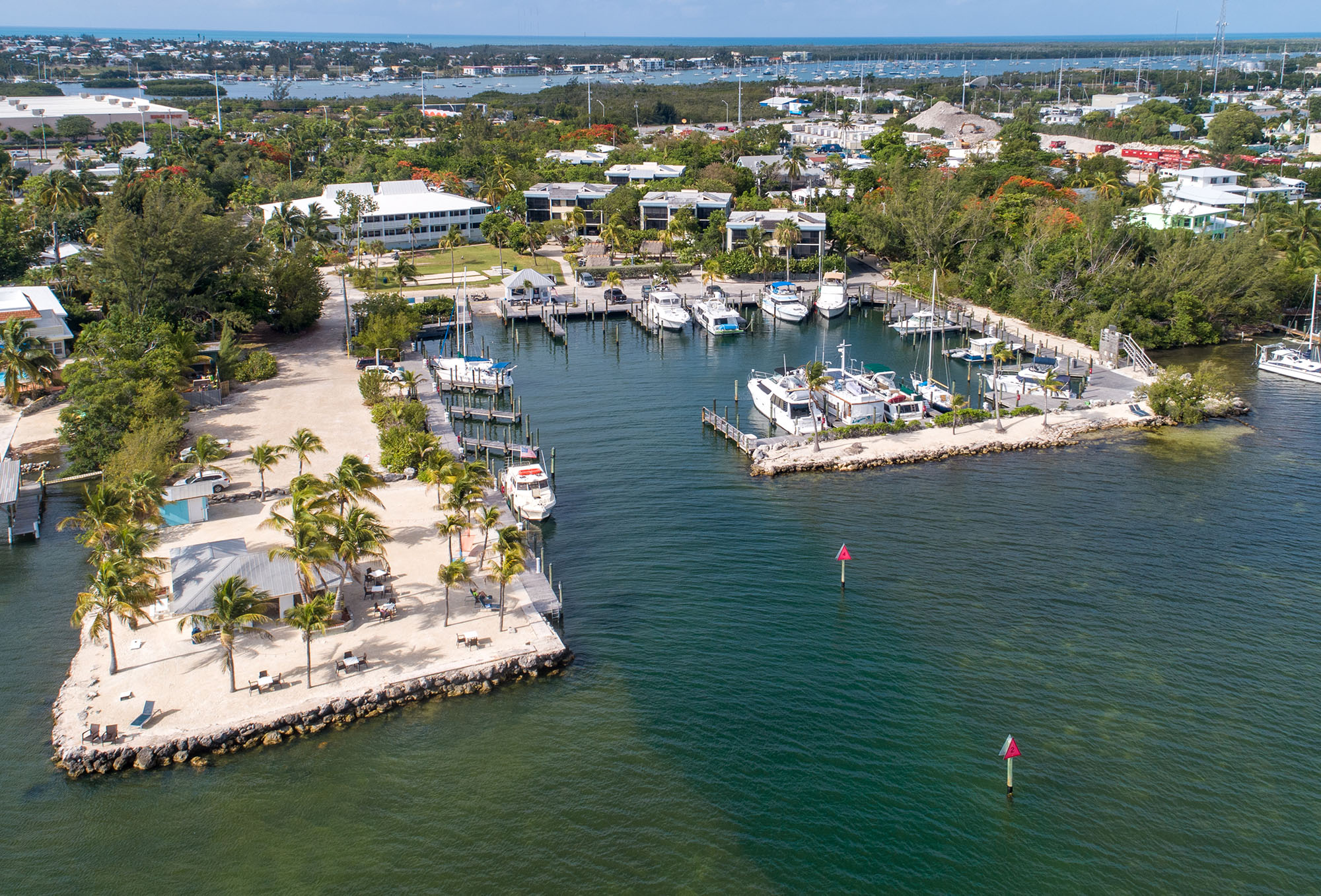 Marathon Key Beach Club Aerial boat channel