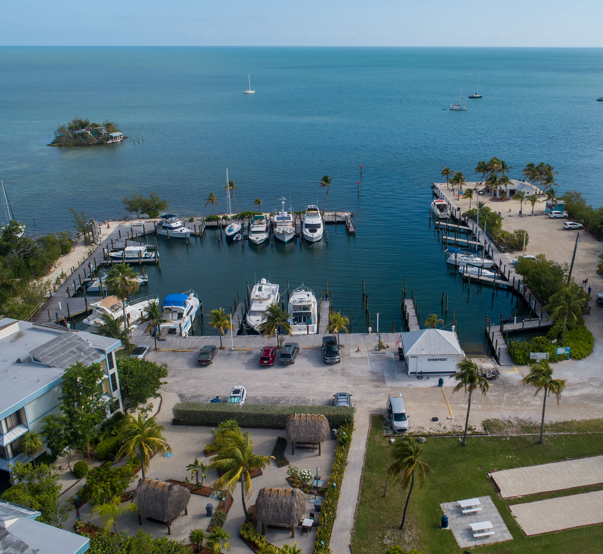 Marathon Key Beach Club Aerial boat slips